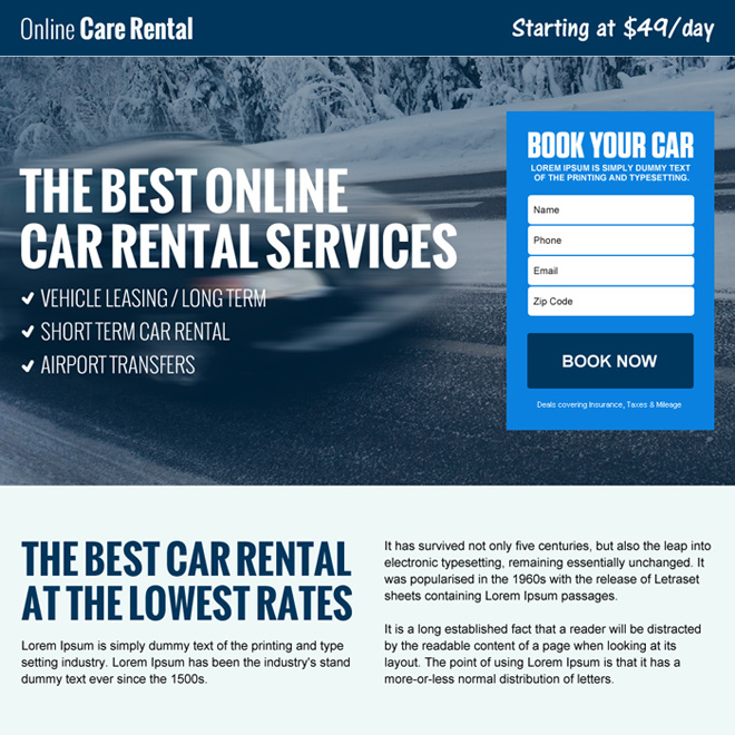 responsive car rental landing page design Car Hire and Car Rental example