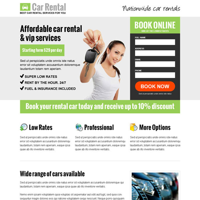 Car hire or car rental landing page designs for car hire for Online architect services