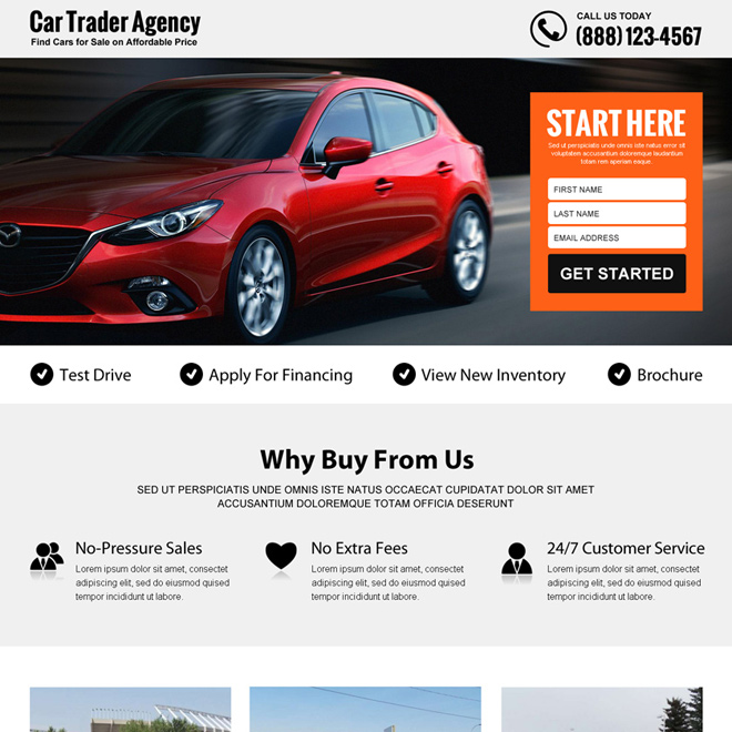 best car trading agency lead gen responsive landing page design Ecommerce example