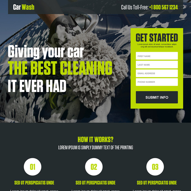 car cleaning lead capture landing page design template Car wash example