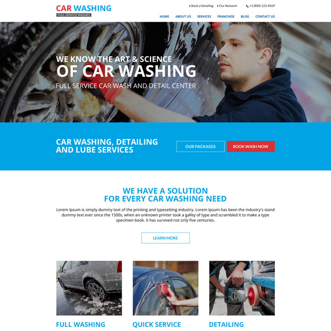 clean and effective car washing service website design Car Wash example