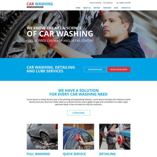 best car washing responsive website design Automotive example