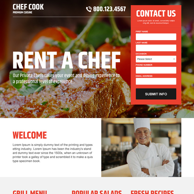 best chef cook lead capture landing page design Chef example