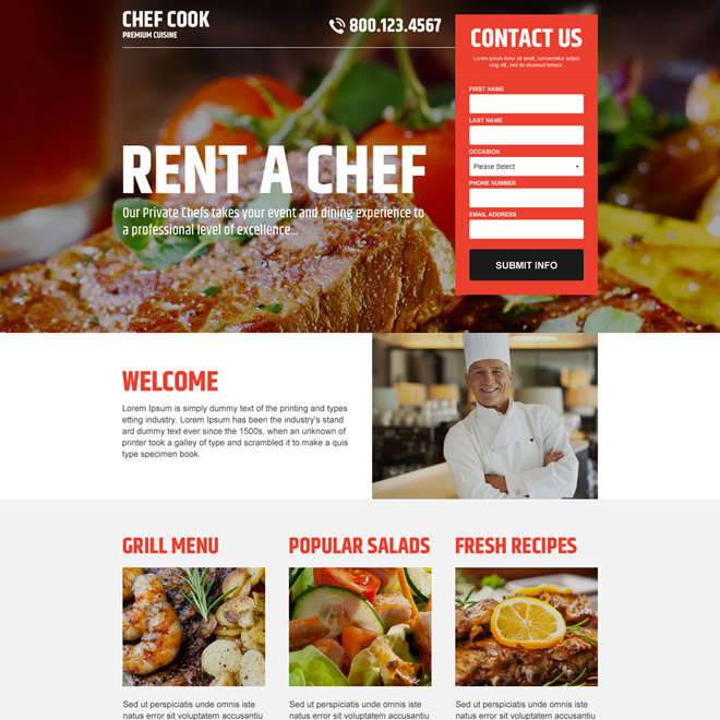best private chef lead generating responsive landing page Personal Page example