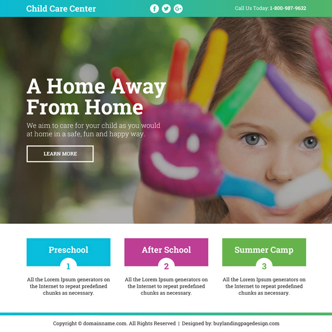 best child care center leads funnel landing page design Child Care example