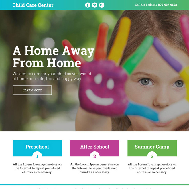best child care center lead funnel responsive landing page Child Care example