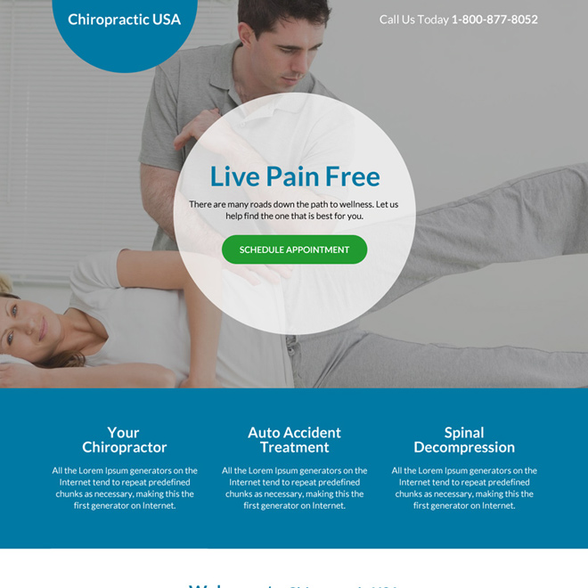 best chiropractic care service landing page design Chiropractic example