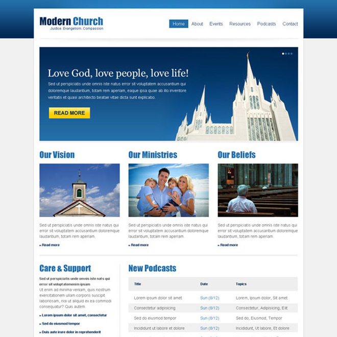clean and effective church website template design psd at affordable price Website Template PSD example