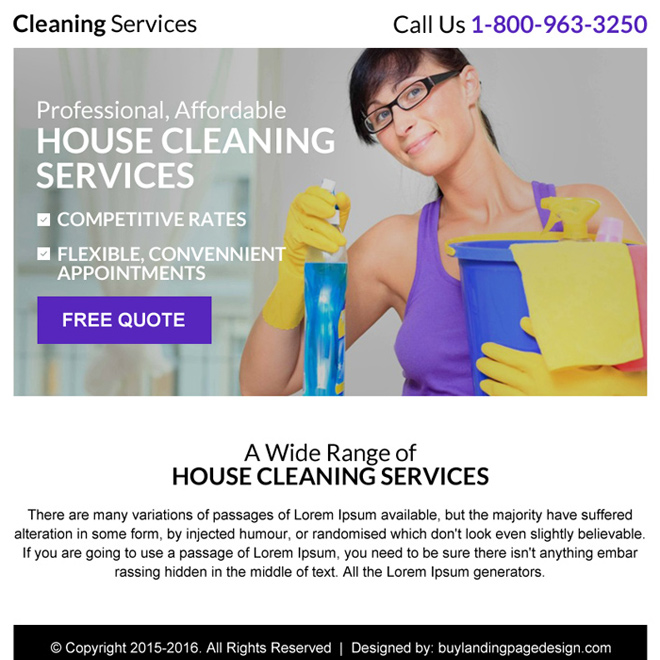 best cleaning service free quote ppv landing page Cleaning Service example