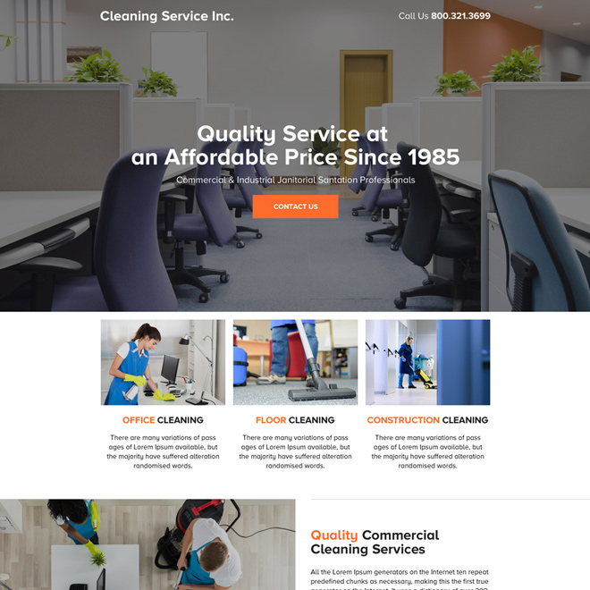 quality commercial cleaning services mini landing page design Cleaning Services example