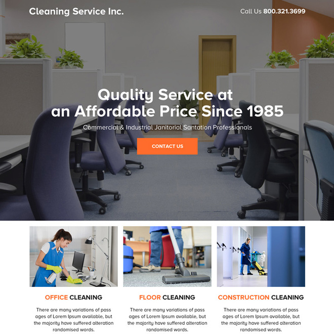 best cleaning service responsive landing page design Cleaning Services example