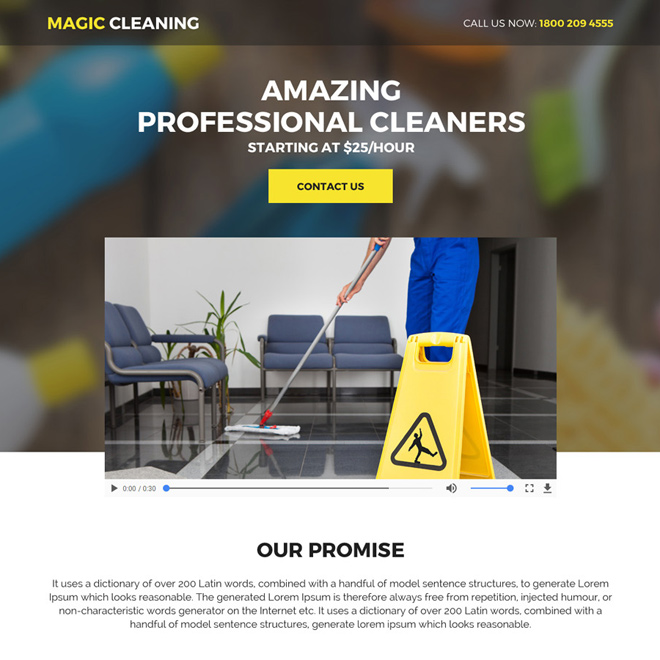 best cleaning services mini responsive video landing page Cleaning Services example