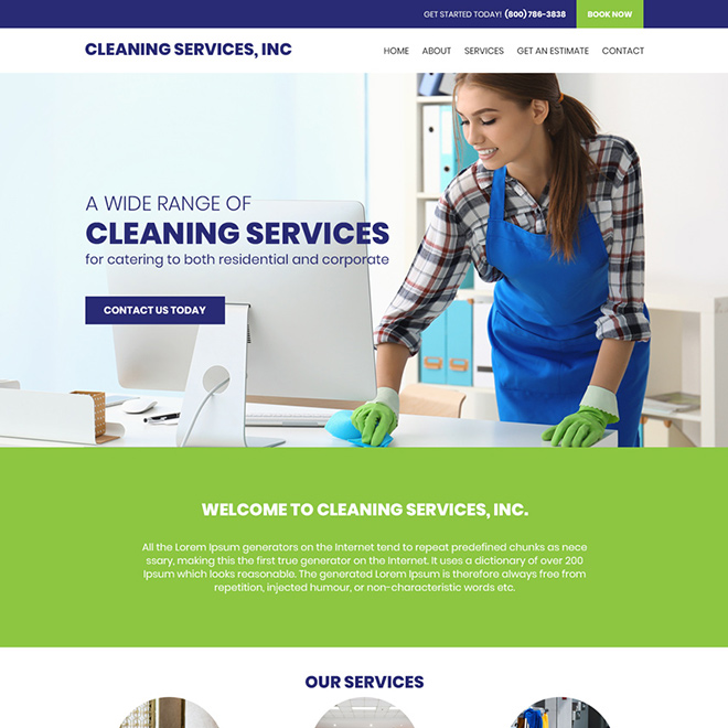 cleaning service company responsive website design Cleaning Services example