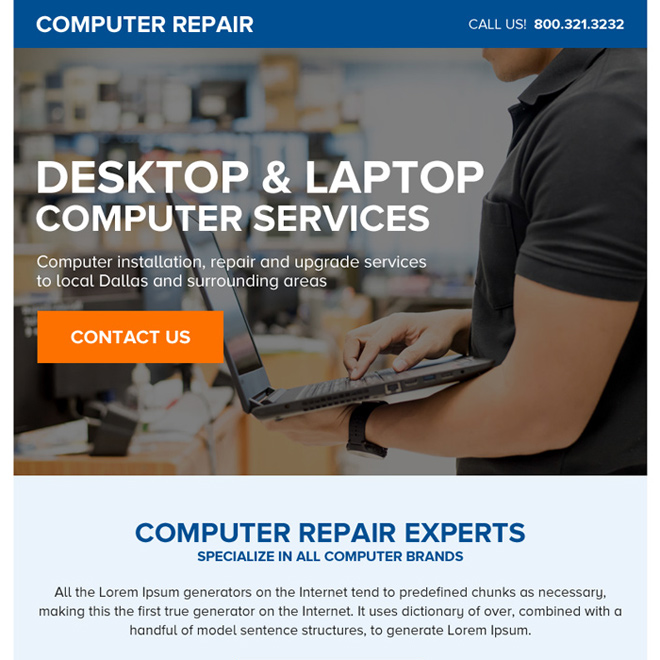 desktop and laptop repair service ppv landing page Computer Repair example