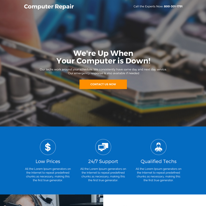 best computer repair service responsive landing page Computer Repair example