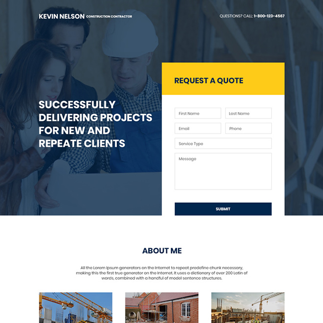 construction contractor lead capture responsive landing page Real Estate example