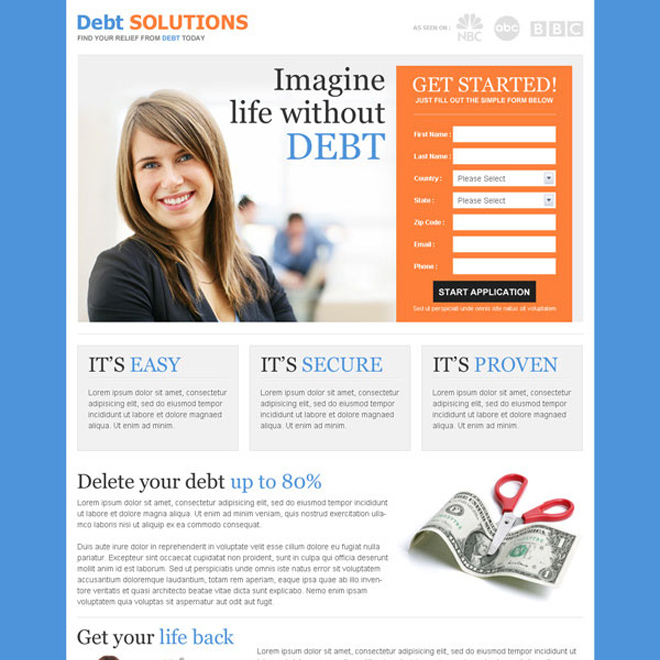 best converting debt lead capture responsive landing page design template Debt example
