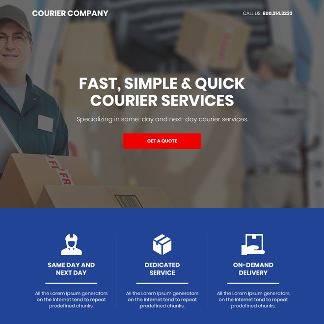 courier service company bootstrap landing page Transportation example