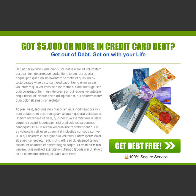 get out of credit card debt easily converting ppv landing page template Debt example