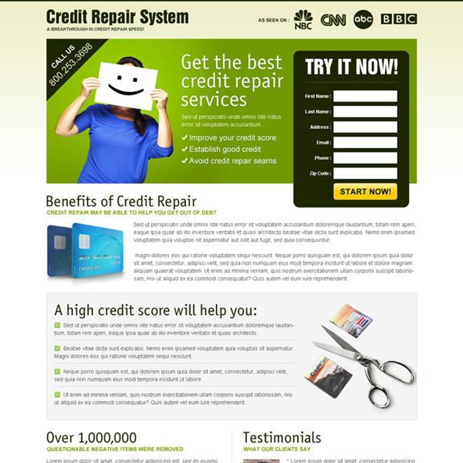 get the best credit repair service most converting landing page design Credit Repair example