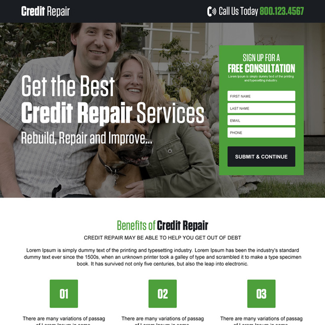 best credit repair service landing page design Credit Repair example