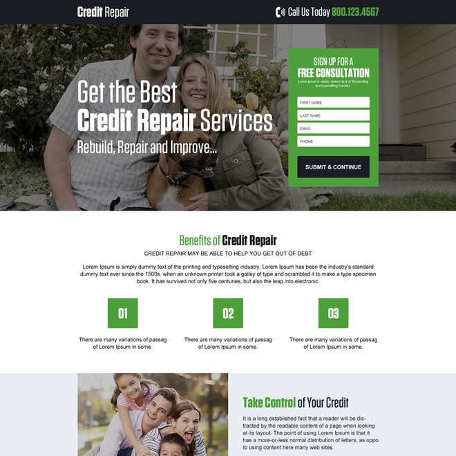 responsive credit repair service landing page design Credit Repair example