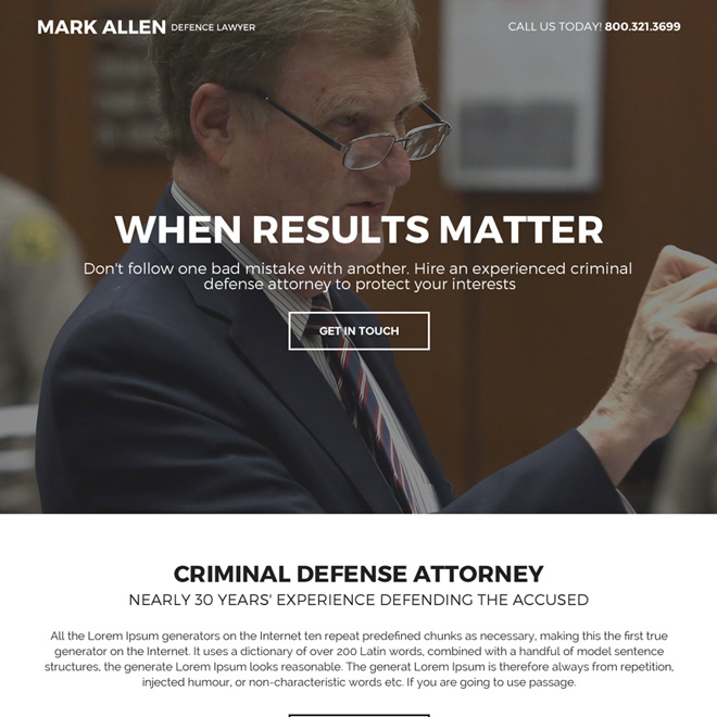 best criminal defense attorney mini landing page design Attorney and Law example