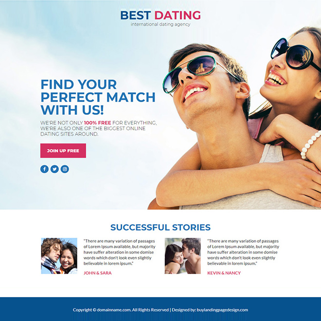 best dating agency lead funnel responsive landing page design Dating example