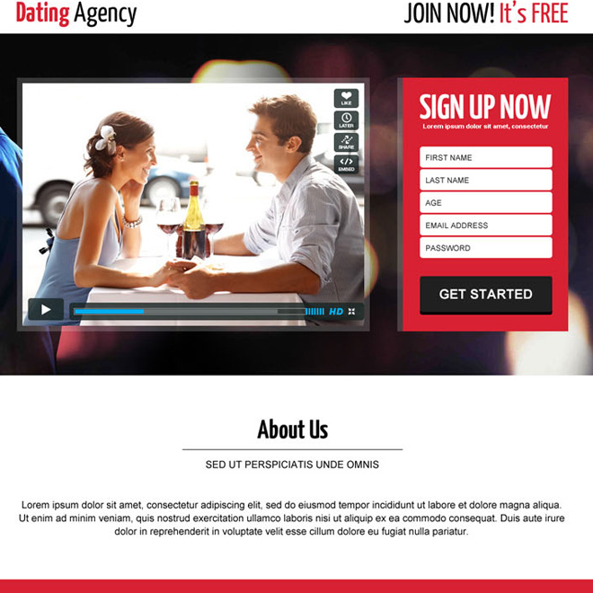 best dating agency sign up video landing page design dating example. Black Bedroom Furniture Sets. Home Design Ideas