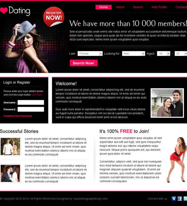 best dating website template design psd for sale Website Template PSD example