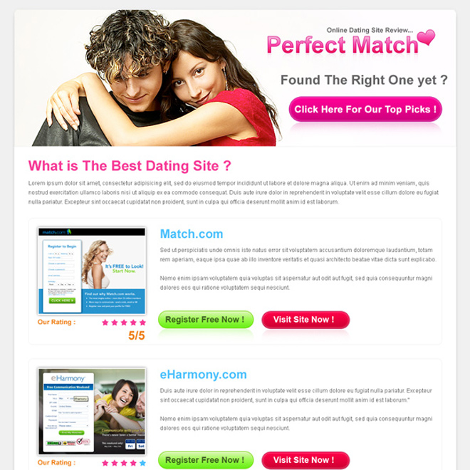 clean and minimal dating review type landing page design Landing Page Design example
