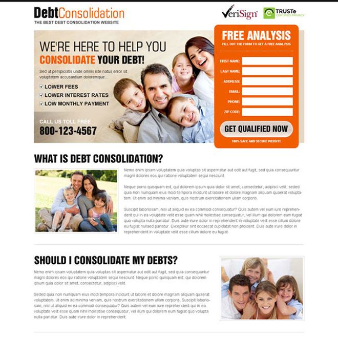 consolidate your debt clean and converting landing page design Debt example