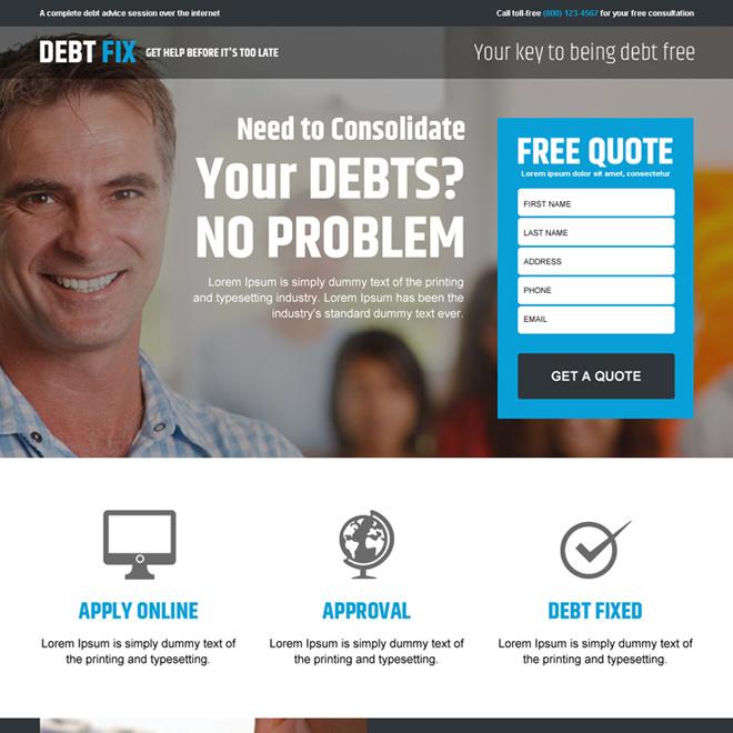 responsive debt relief or debt settlement business landing page design templates for sale. Black Bedroom Furniture Sets. Home Design Ideas