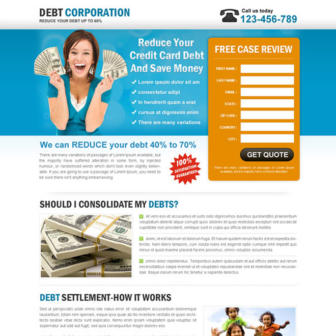 Landing page design for credit card debt debt relief and