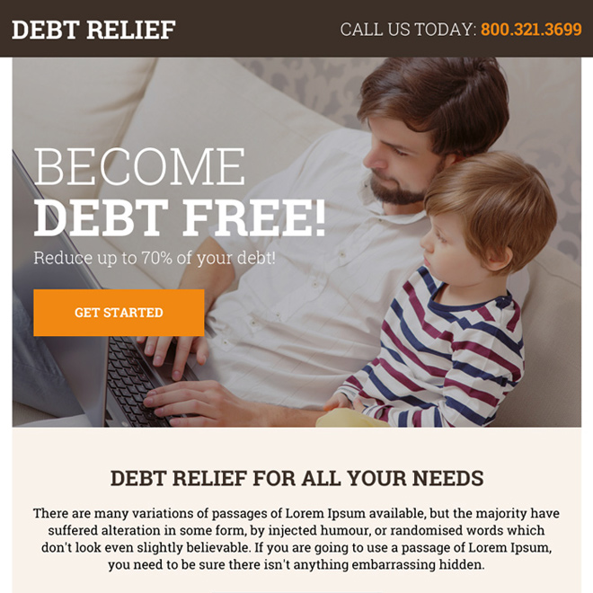 best debt relief solution ppv landing page design Debt example