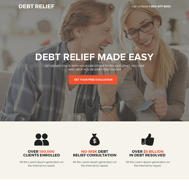 best debt relief solution bootstrap landing page design Debt example