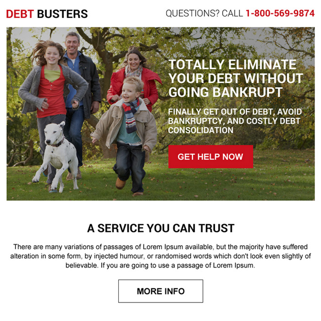 best debt service online ppv landing page design Debt example