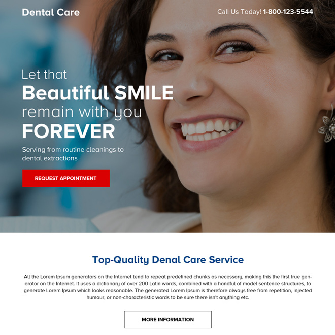 best dental care mini responsive landing page design Dental Care example