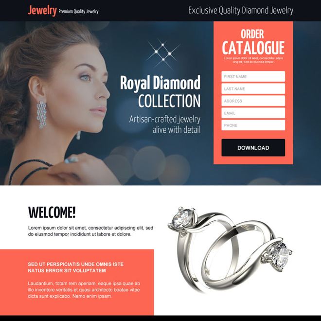 best diamond jewelry ornaments selling lead capture landing page Jewelry example