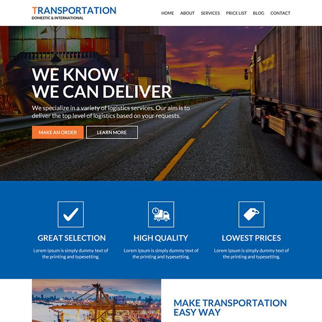best transportation service responsive website design Transportation example