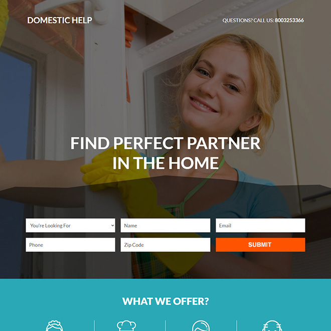 best domestic help service responsive landing page design Domestic Help example