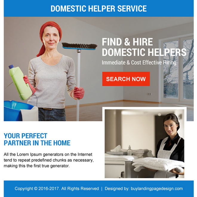 best domestic help service ppv landing page design Domestic Help example