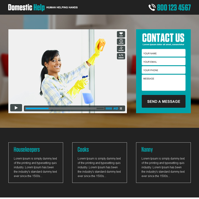 domestic help service responsive video landing page design Domestic Help example