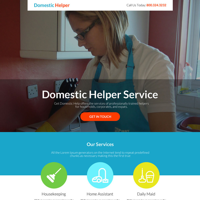 best domestic helper service responsive landing page Domestic Help example