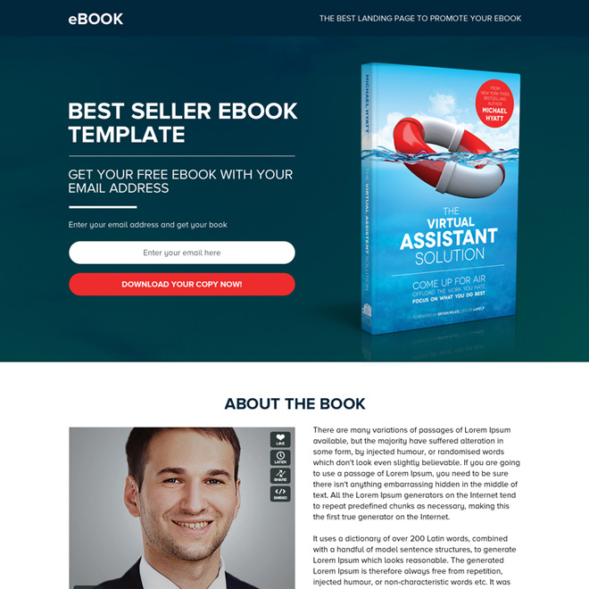 ebook selling best responsive landing page design Ebook example