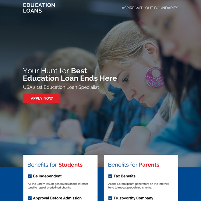 best education loan online application landing page design Loan example