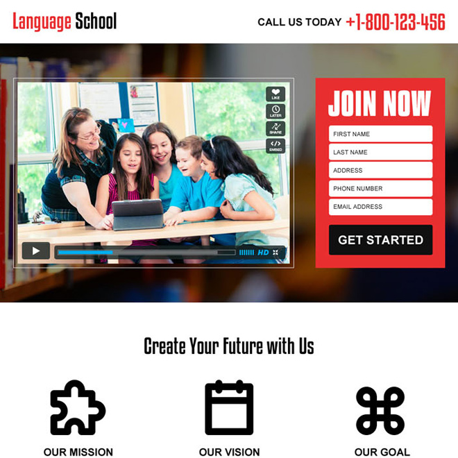 best education video landing page design to capture leads Education example