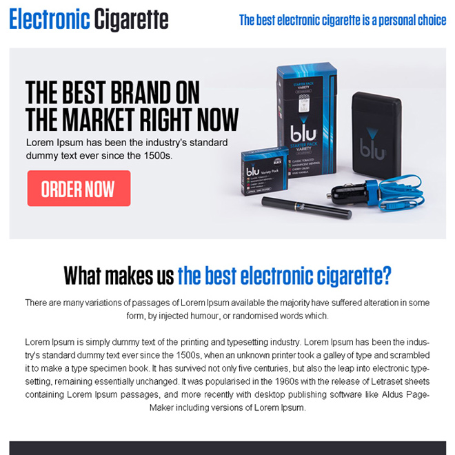 best electronic cigarette call to action ppv landing page design E Cigarette example