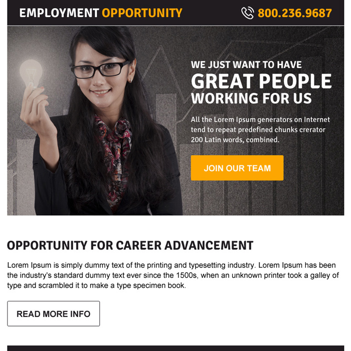 best employment opportunity ppv landing page design Employment Opportunity example