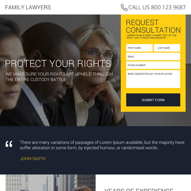 best family lawyer lead magnet landing page design Attorney and Law example